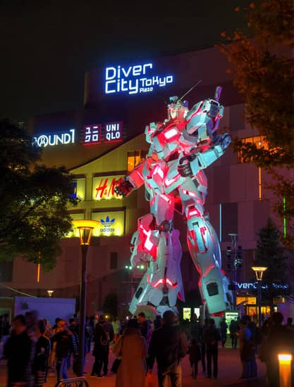JAPAN 2017: DAY 6, PART 1 – Tokyo – Odaiba, Gundam Unicorn Statue, DiverCity Tokyo Plaza, Mega Web Toyota City Showcase
