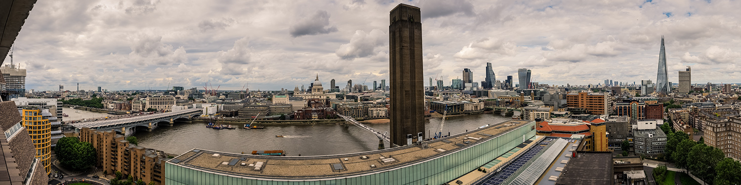View of London skyline, Switch House, Tate Modern, London